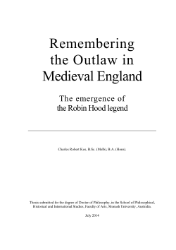 Remembering the outlaw in Medieval England : the emergence of the Robin Hood legend / Charles Robert Kos