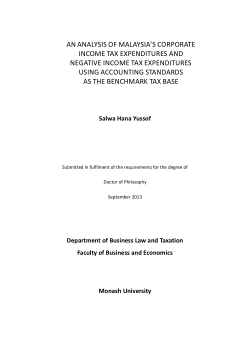 An analysis of Malaysia's corporate income tax expenditures and negative income tax expenditures using accounting standards as the benchmark tax base