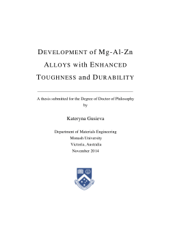 Development of Mg-Al-Zn alloys with enhanced toughness and durability / by Kateryna Gusieva