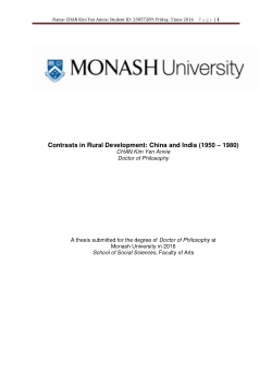Contrasts in rural development: China and India (1950 – 1980)