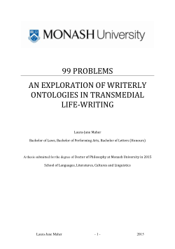 99 problems: an exploration of writerly ontologies in transmedial life-writing