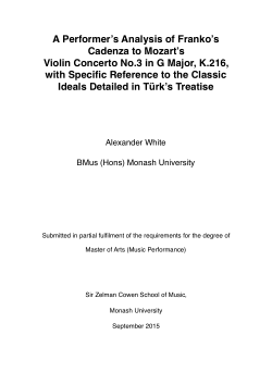 A performer's analysis of Franko's Cadenza to Mozart's Violin concerto No.3 in G major, K.216, with specific reference to the classic ideals detailed in Türk's treatise
