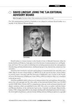 David Lindsay joins the TJA Editorial Advisory Board