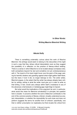 In Other Words: Writing Maurice Blanchot Writing