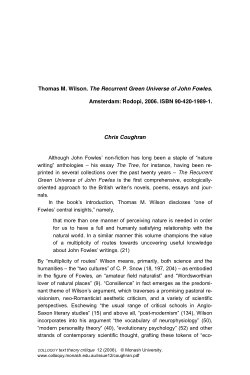Thomas M. Wilson. The Recurrent Green Universe of John Fowles. Amsterdam: Rodopi, 2006 [Book review]