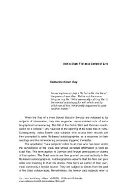 Ash's Stasi File as a Script of Life