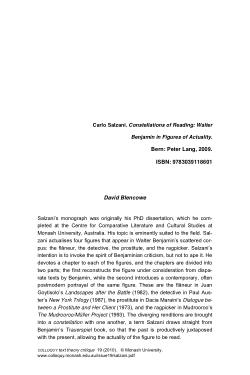 Carlo Salzani. Constellations of Reading: Walter Benjamin in Figures of Actuality. Bern: Peter Lang, 2009 [Book review]