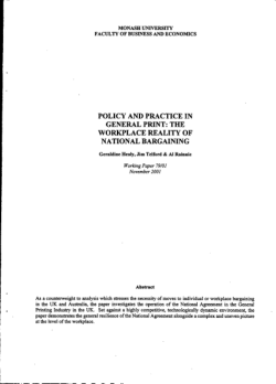 Policy and practice in general print : the workplace reality of national bargaining / Geraldine Healy, Jim Telford & Al Rainnie