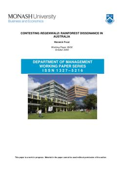 Contesting regenwald : rainforest dissonance in Australia / Warwick Frost
