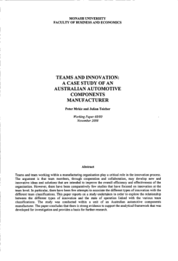 Teams and innovation : a case study of an Australian automotive components manufacturer / Peter Mrkic and Julian Teicher