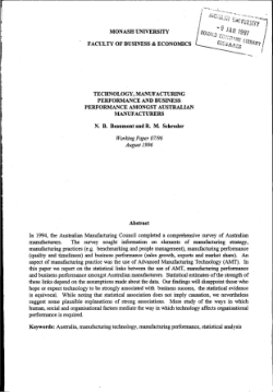 Technology, manufacturing performance and business performance amongst Australian manufacturers / N.B. Beaumont and R.M. Schroder