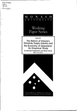 The reform of Victoria's electricity supply industry and the regional economy of Gippsland : an empirical study / by Gennadi Kazakevitch and Sharn Stone