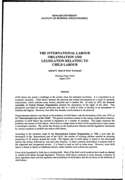 The International Labour Organisation and legislation relating to child labour / Ashraf U. Kazi & Peter Townsend