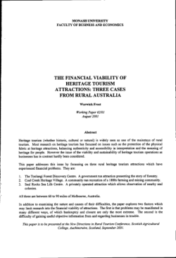 The financial viability of heritage tourism attractions : three cases from rural Australia / Warwick Frost