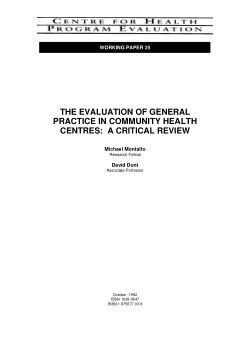 The evaluation of general practice in community health centres : a critical review / Michael Montalto, David Dunt