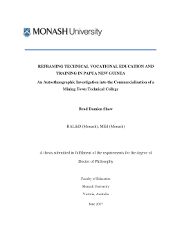 REFRAMING TECHNICAL VOCATIONAL EDUCATION AND TRAINING IN PAPUA NEW GUINEA  An Autoethnographic Investigation into the Commercialisation of a Mining Town Technical College