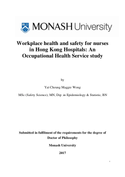 Workplace health and safety for nurses in Hong Kong Hospitals: An Occupational Health Service study