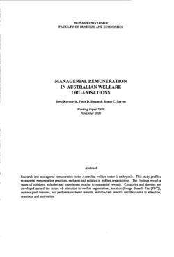Managerial remuneration in Australian welfare organisations / Savo Kovacevic, Peter D. Steane & James C. Sarros