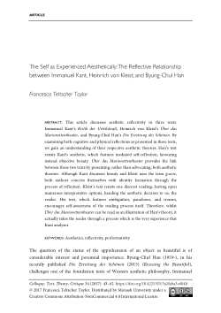 The Self as Experienced Aesthetically: The Reflective Relationship between Immanuel Kant, Heinrich von Kleist, and Byung-Chul Han