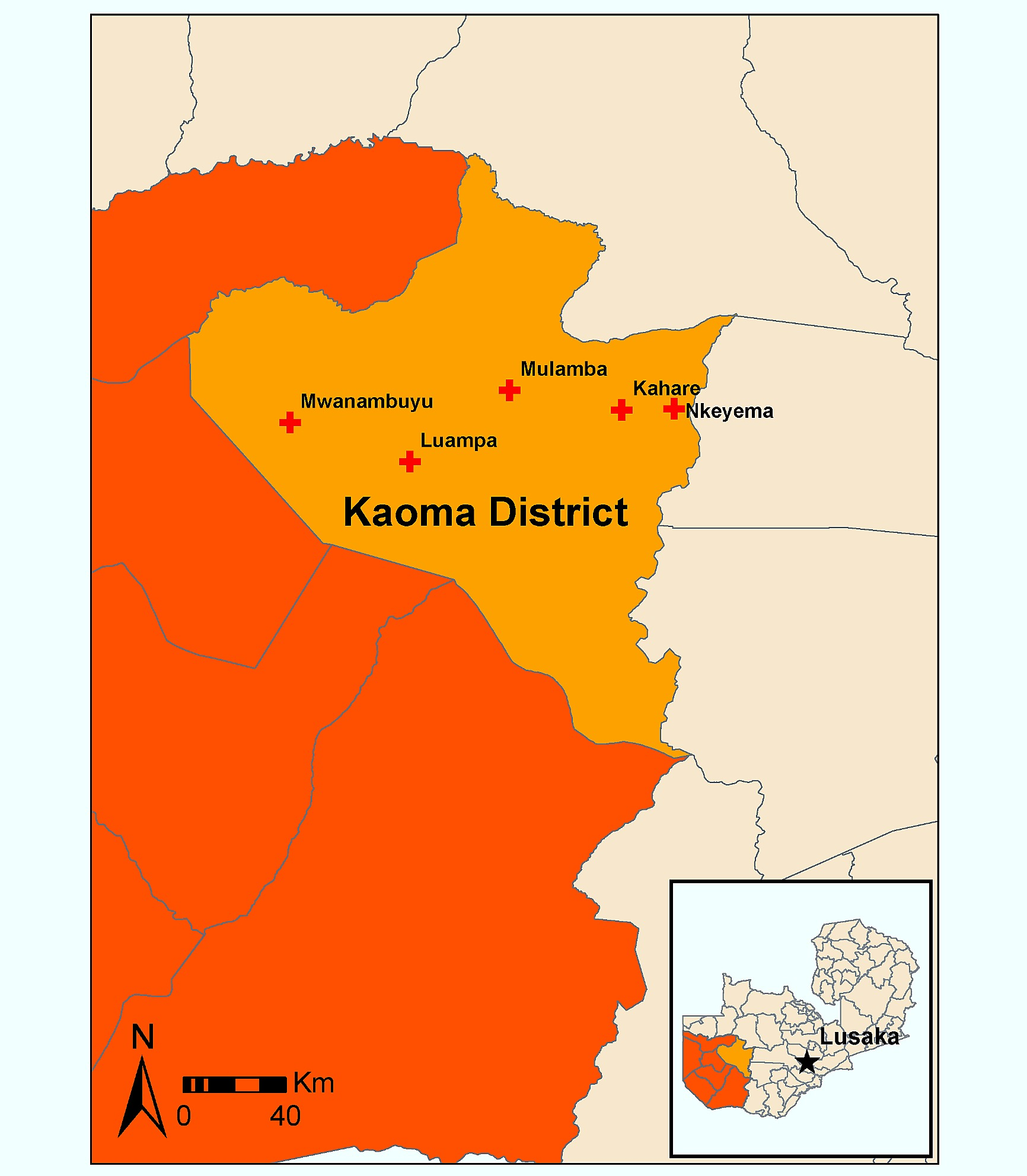 Map of study clinics in Kaoma District Western Provence Zambia