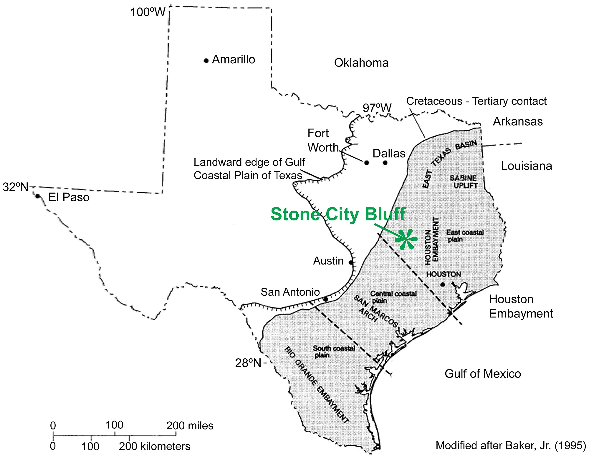 Location Of The Stone City Bluff Study Area On The Texas Gulf