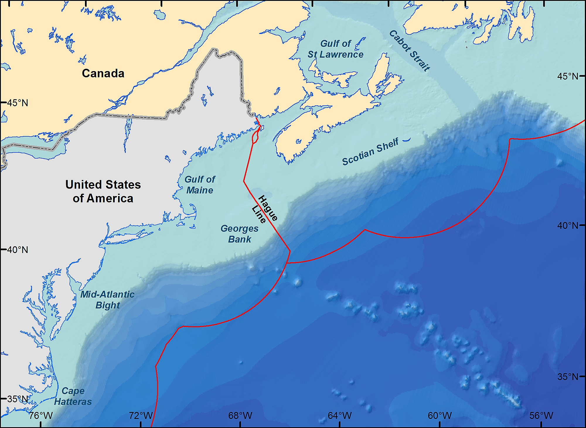 Northeast Continental Shelf United States And Scotian Shelf Canada In The Northwest Atlantic