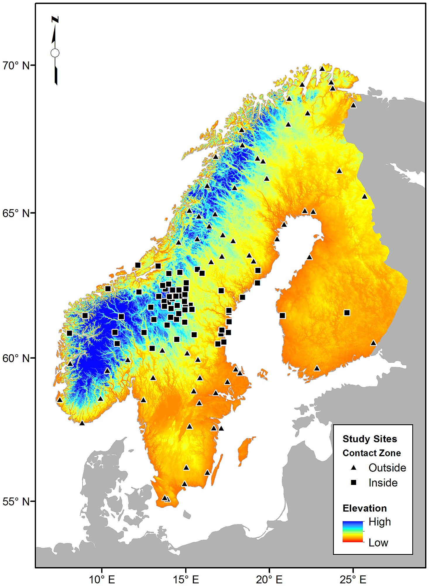 Maps Of Scandinavia With Backgrounds Representing A Digital - Elevation locations