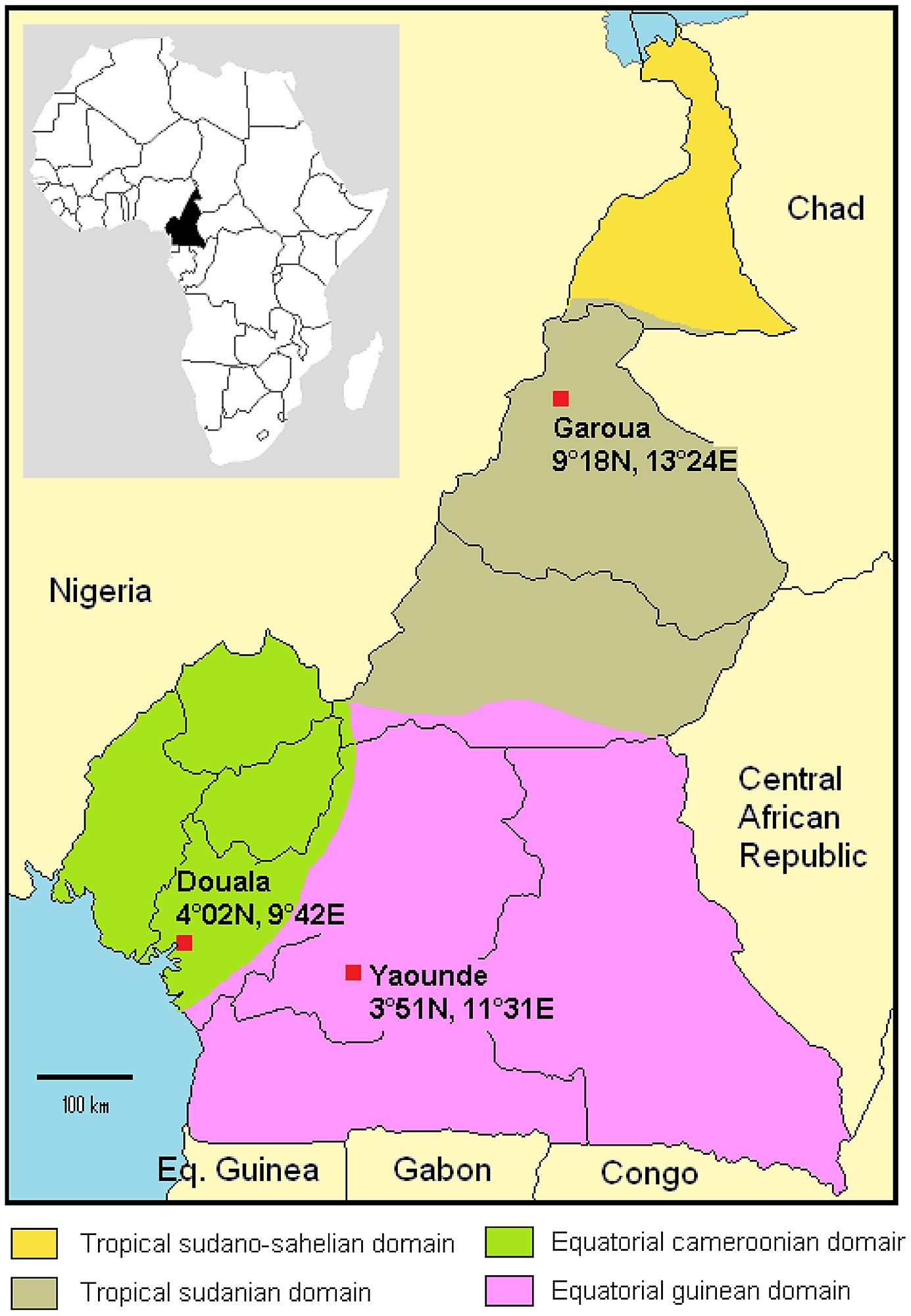 Map of Cameroon: main climatic zones and location of the 3 study sites.