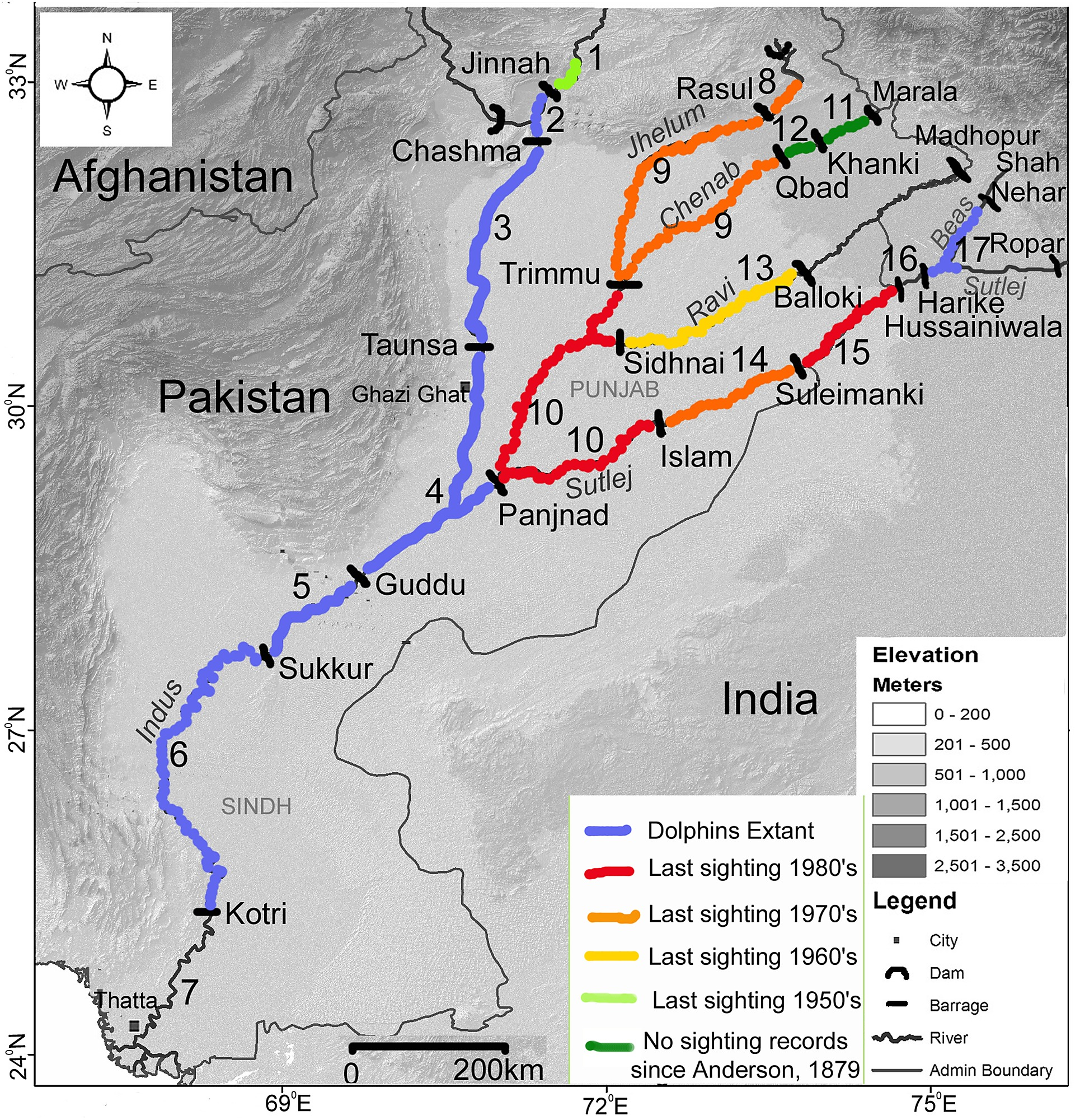 Map of the lower Indus River system