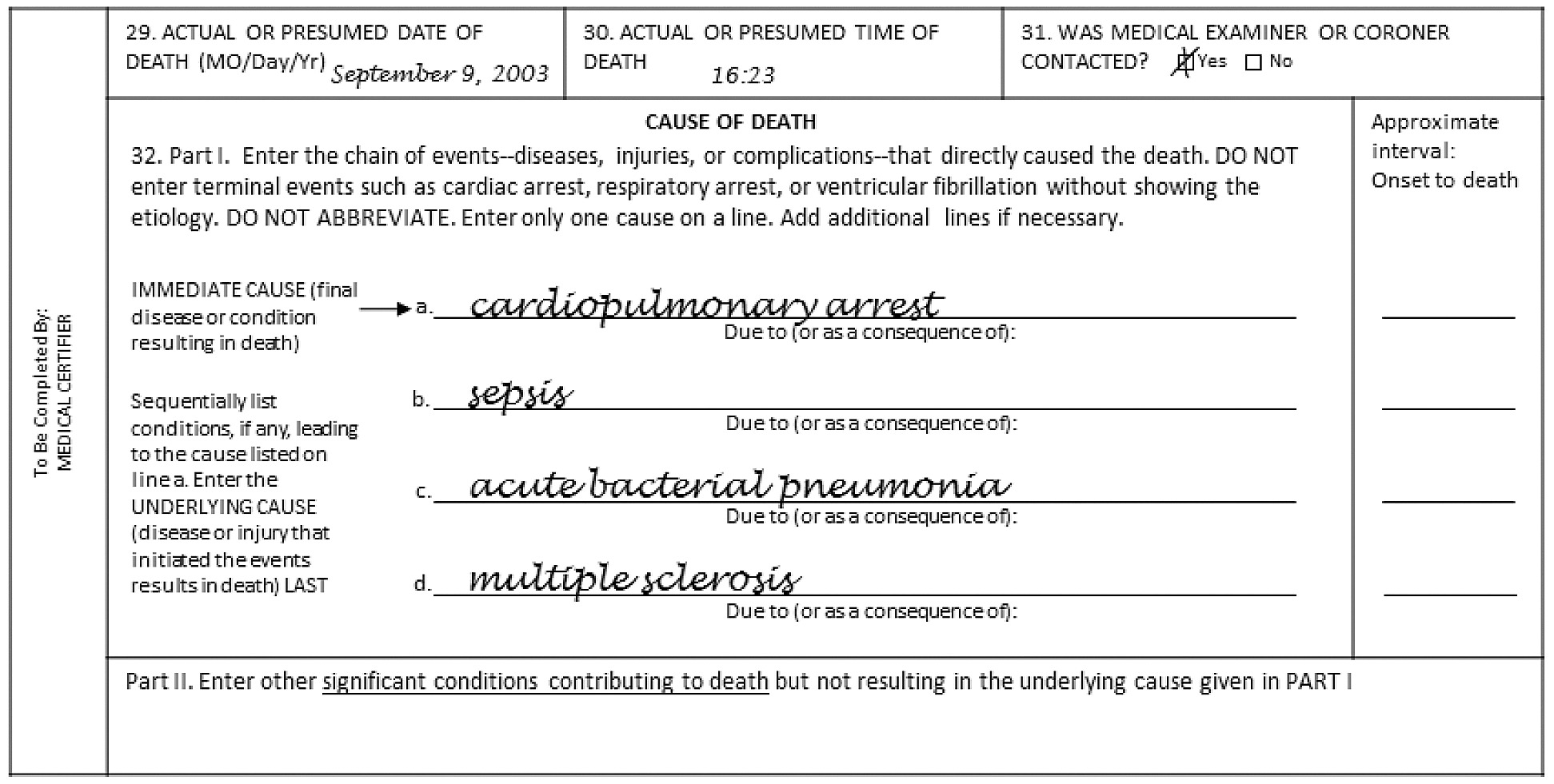 sample of death certificate