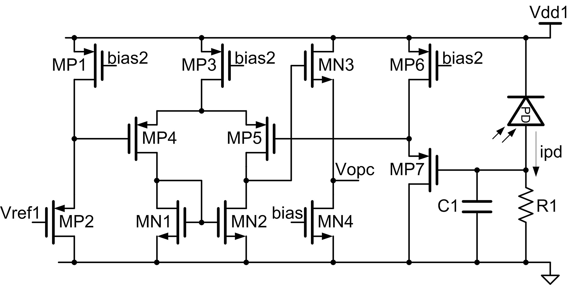 Portable Optical Epidural Needle A Cmos Based System Solution And Proposed Transimpedance Amplifier Schematic Figure S1
