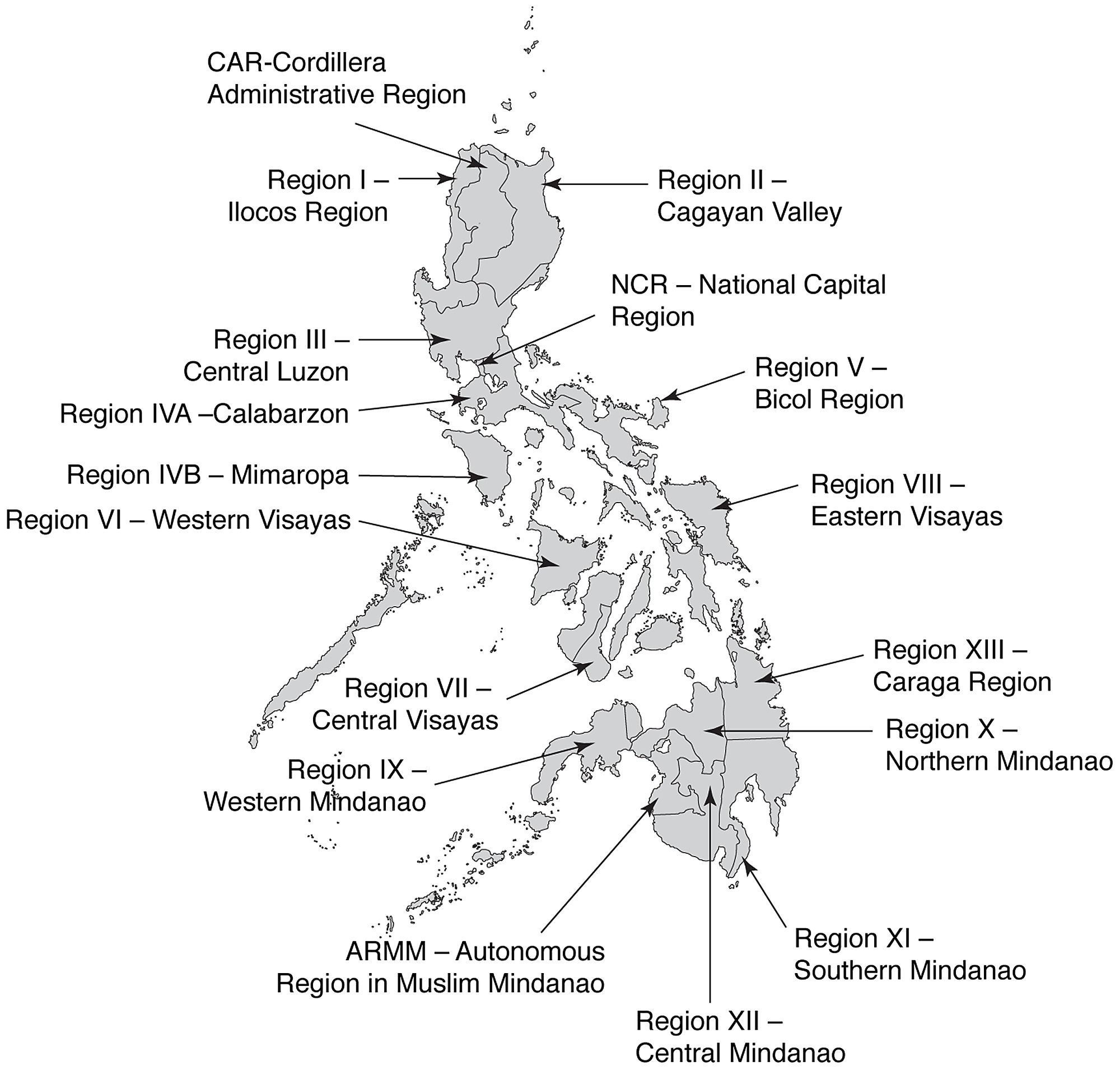Picture of: Map Of The Philippines Showing The Administrative 17 Regions 19 20
