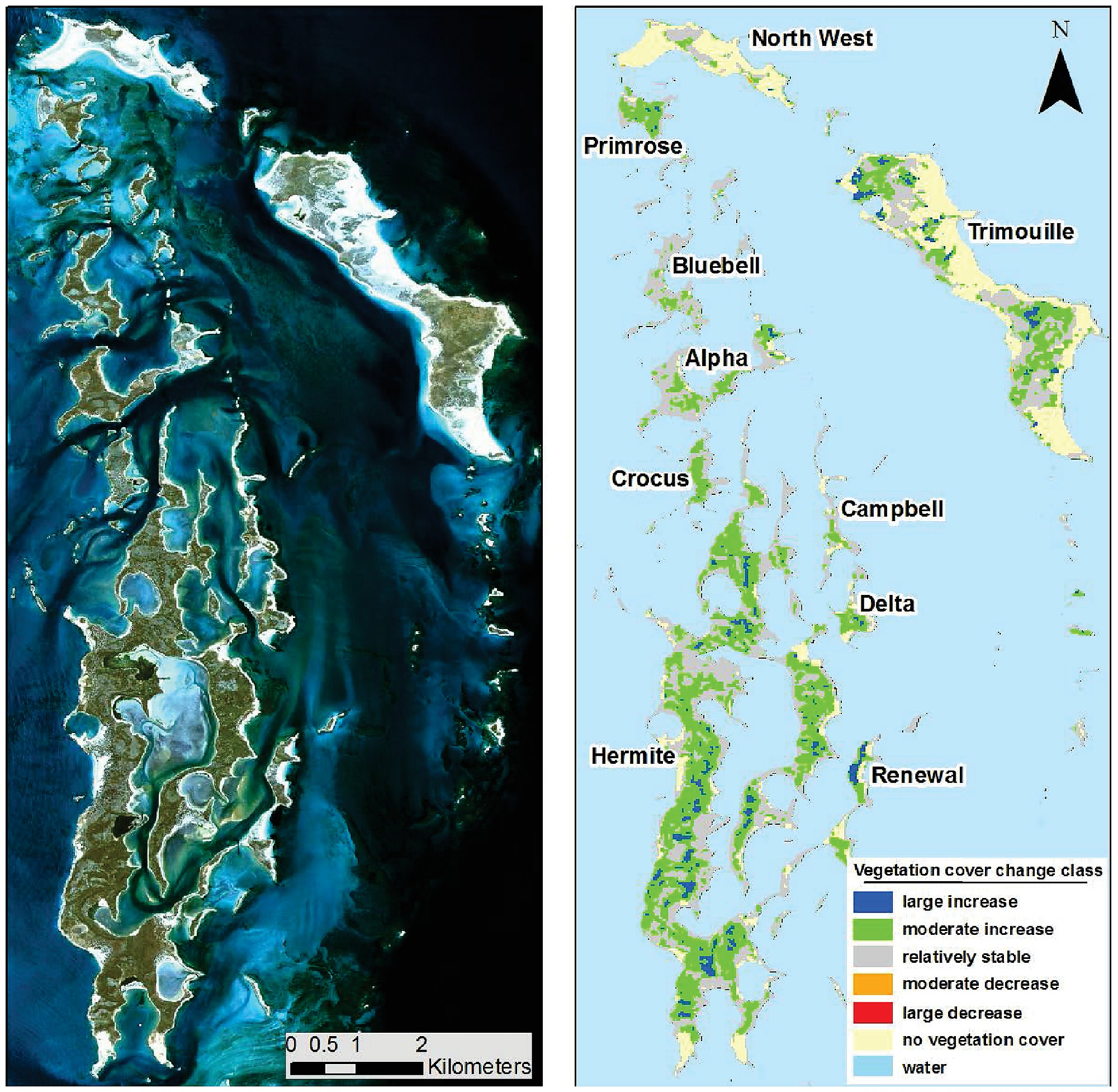 Foliage cover trend map of the Montebello island archipelago for