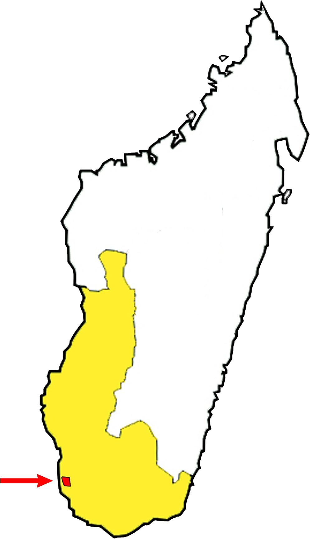 Map of Madagascar, showing the Toliara province (in yellow) and the ...