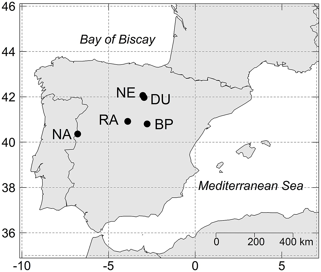 Image of: Map Of The Iberian Peninsula With The Location Of The Study Sites