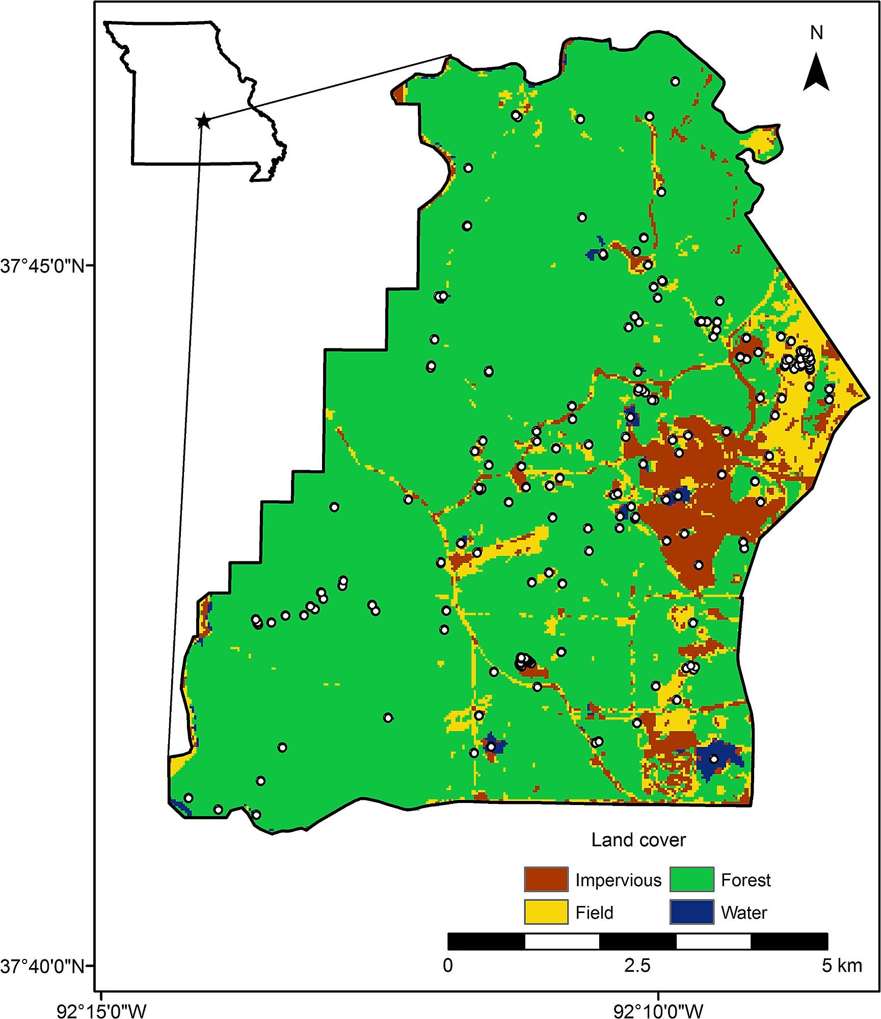 Map Of The Sampled Landscape 7 140 Ha Within Fort Leonard Wood