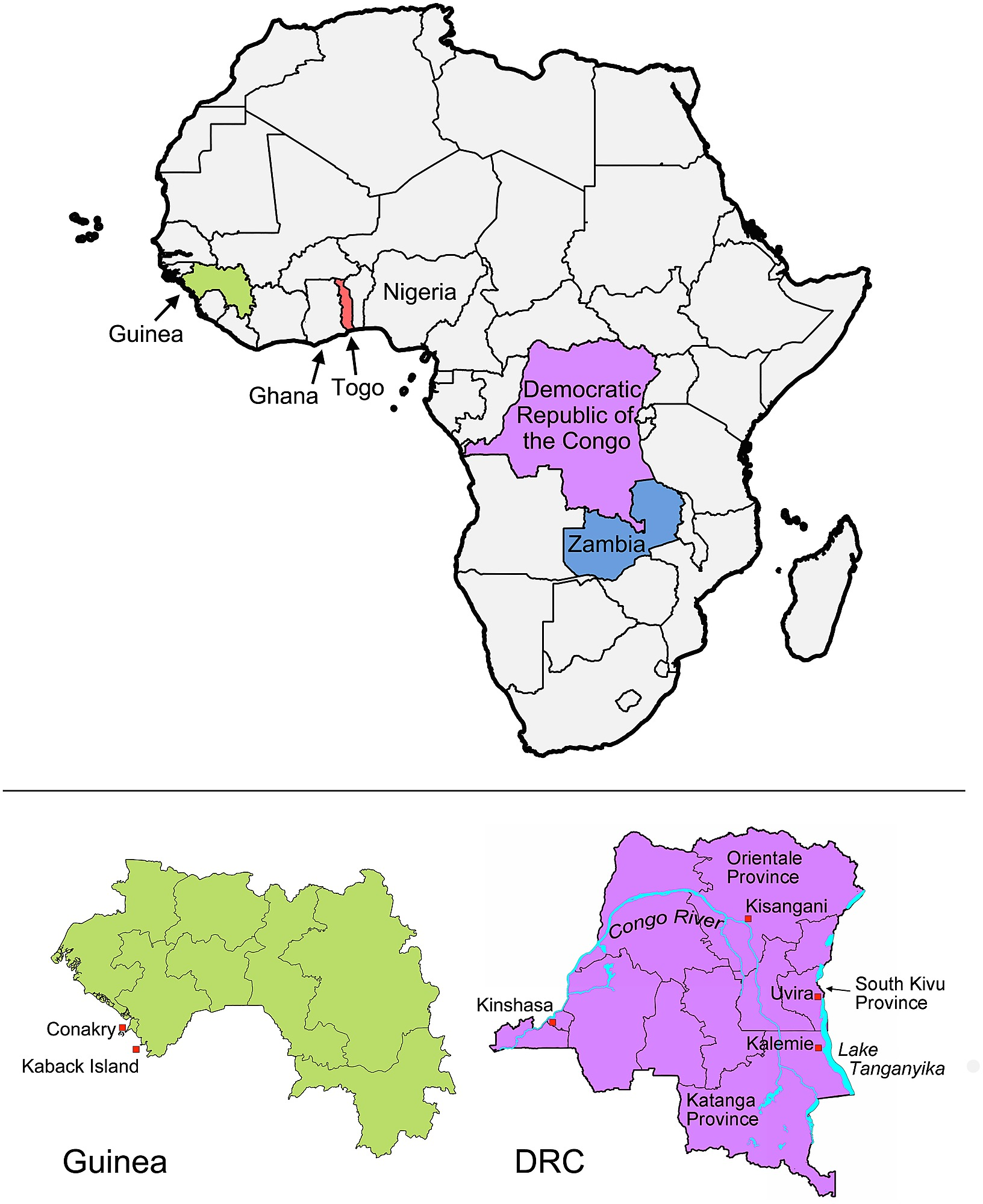 Map Of Africa Congo River.Map Of African Countries Implicated In Study