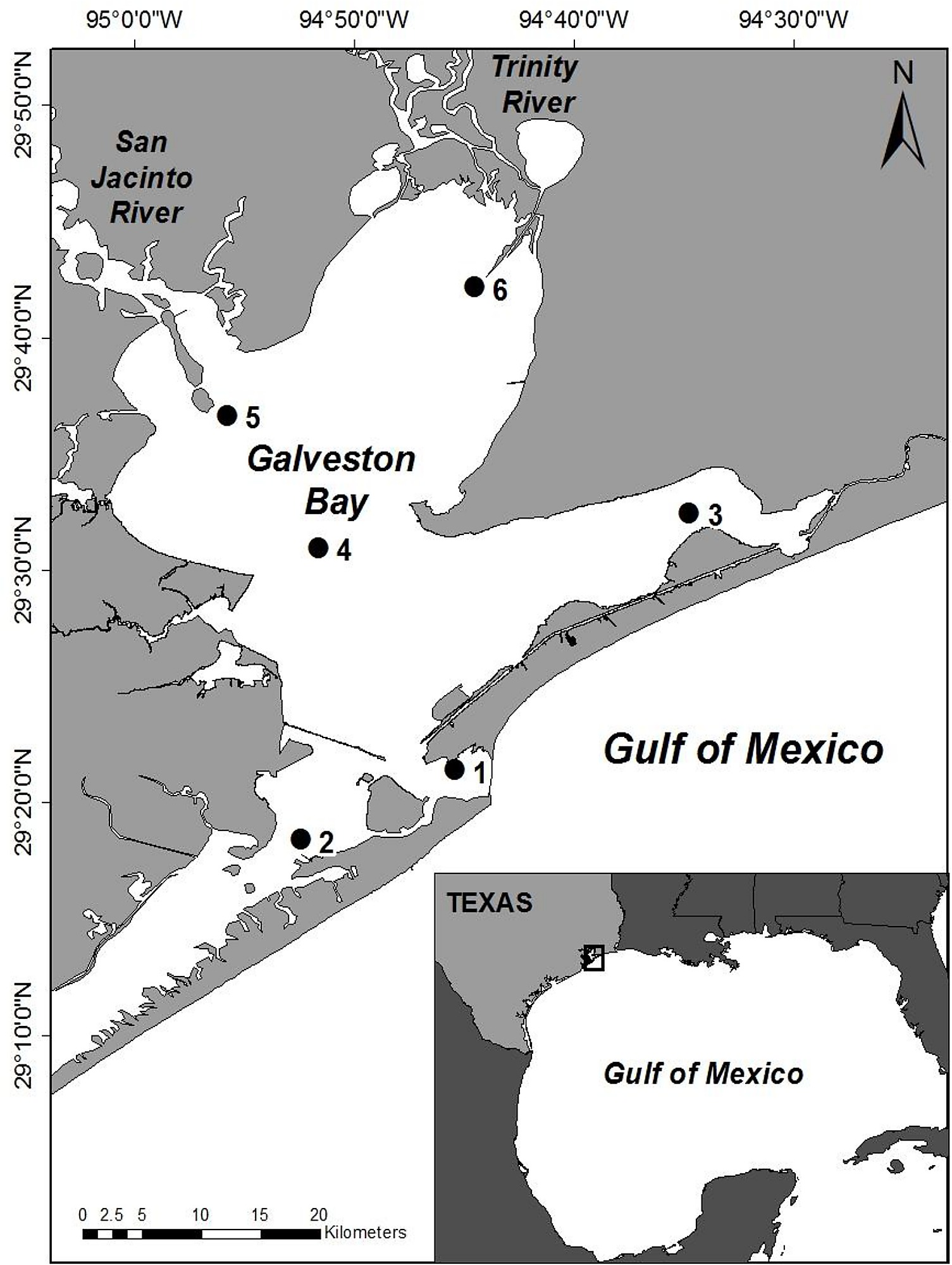 Map Of Galveston Bay Texas USA Showing The Locations Of The Six - Major rivers in usa map