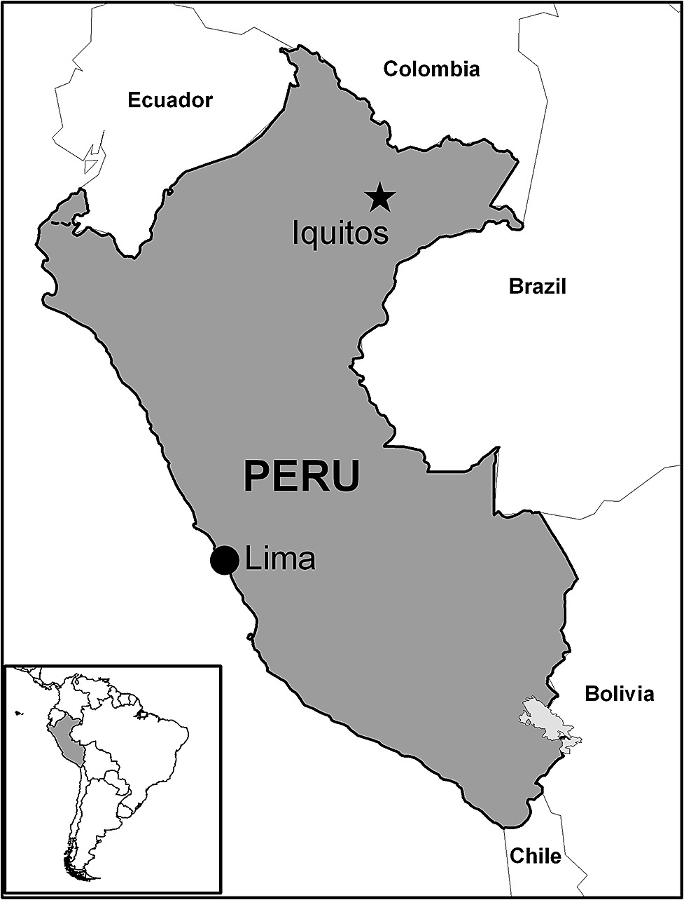 Map Of Peru Indicating The Study Site Of Iquitos In The Peruvian Amazon Basin And The Capital Lima Site Of The Main U S Medical Research Unit No