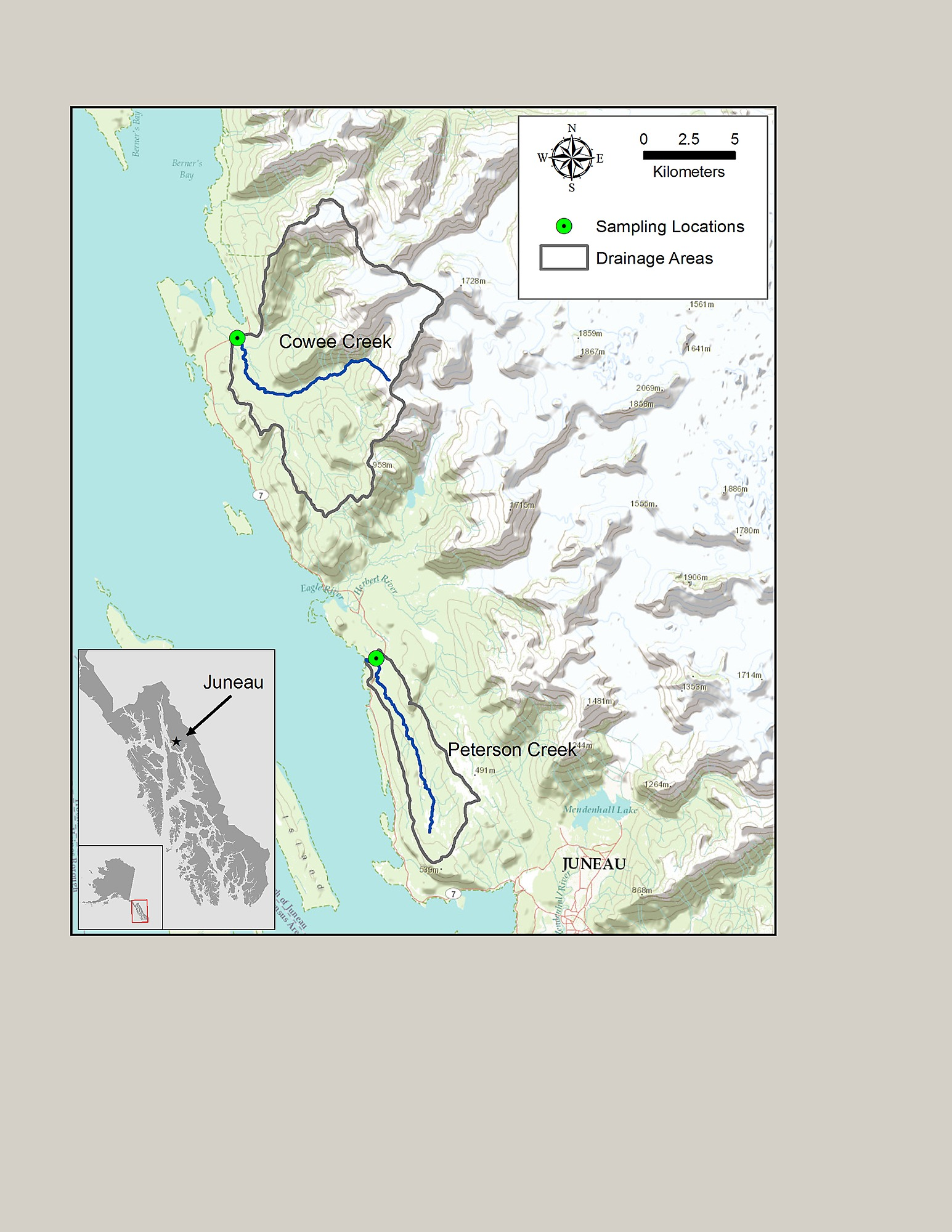 Map of the two study watersheds and sampling sites near ...