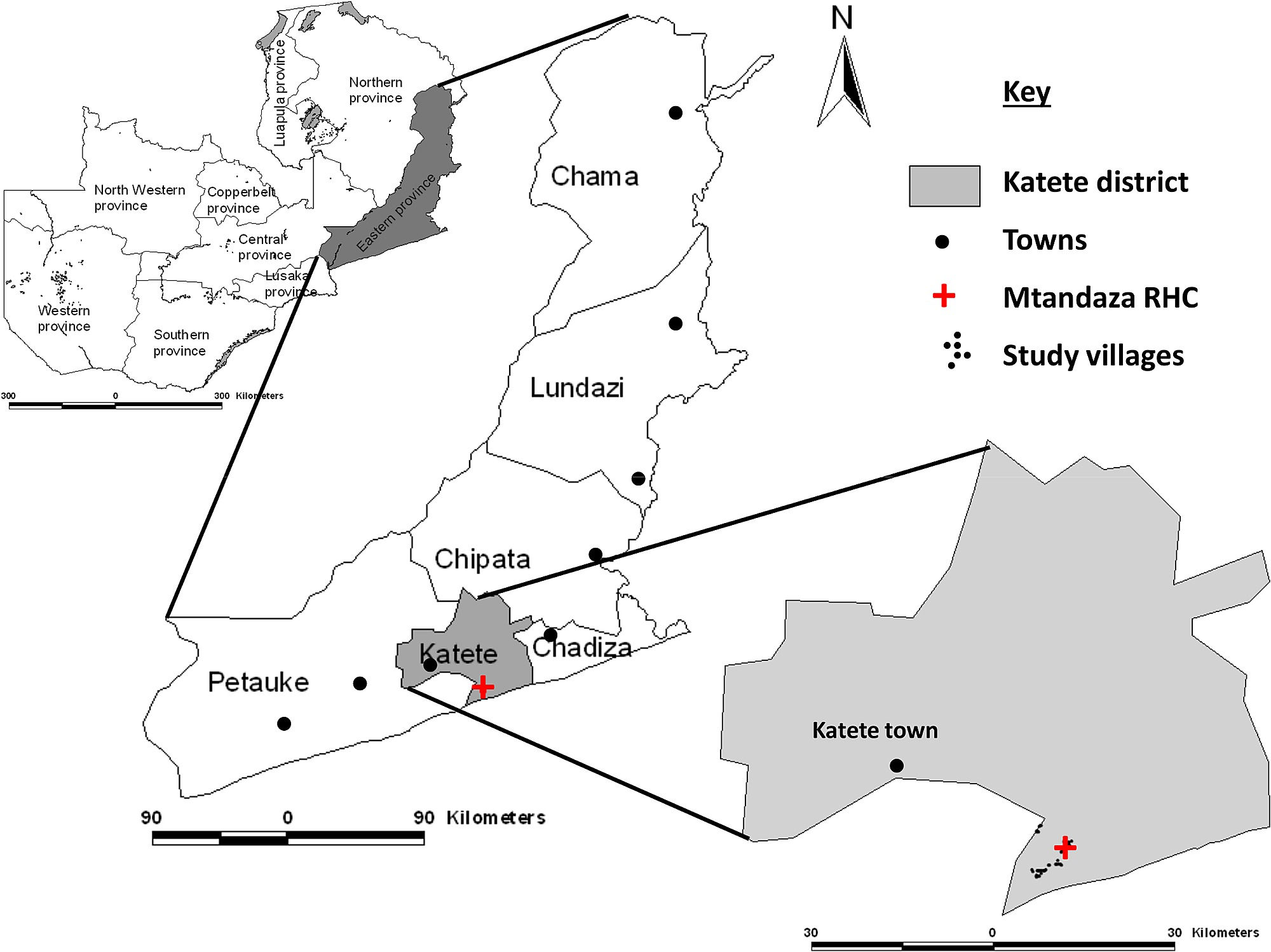 Map of Zambia showing the study area in Katete district of the