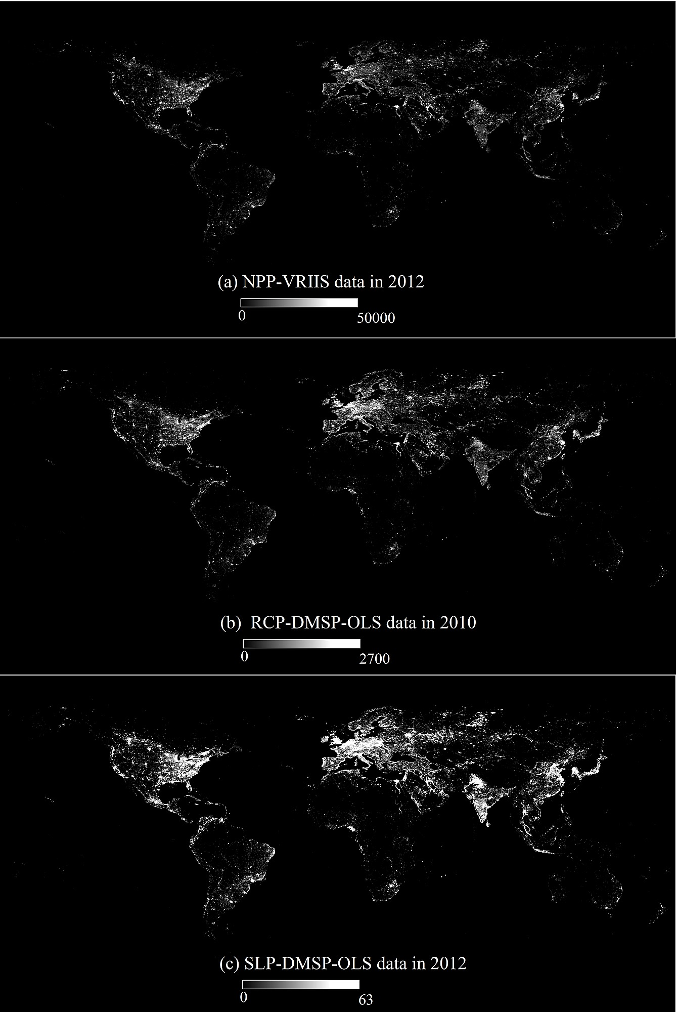 Evaluation of npp viirs nighttime light data for mapping global three different nighttime light imagery npp vriis a the stable light products b and radiance calibrated products c from dmsp ols gumiabroncs