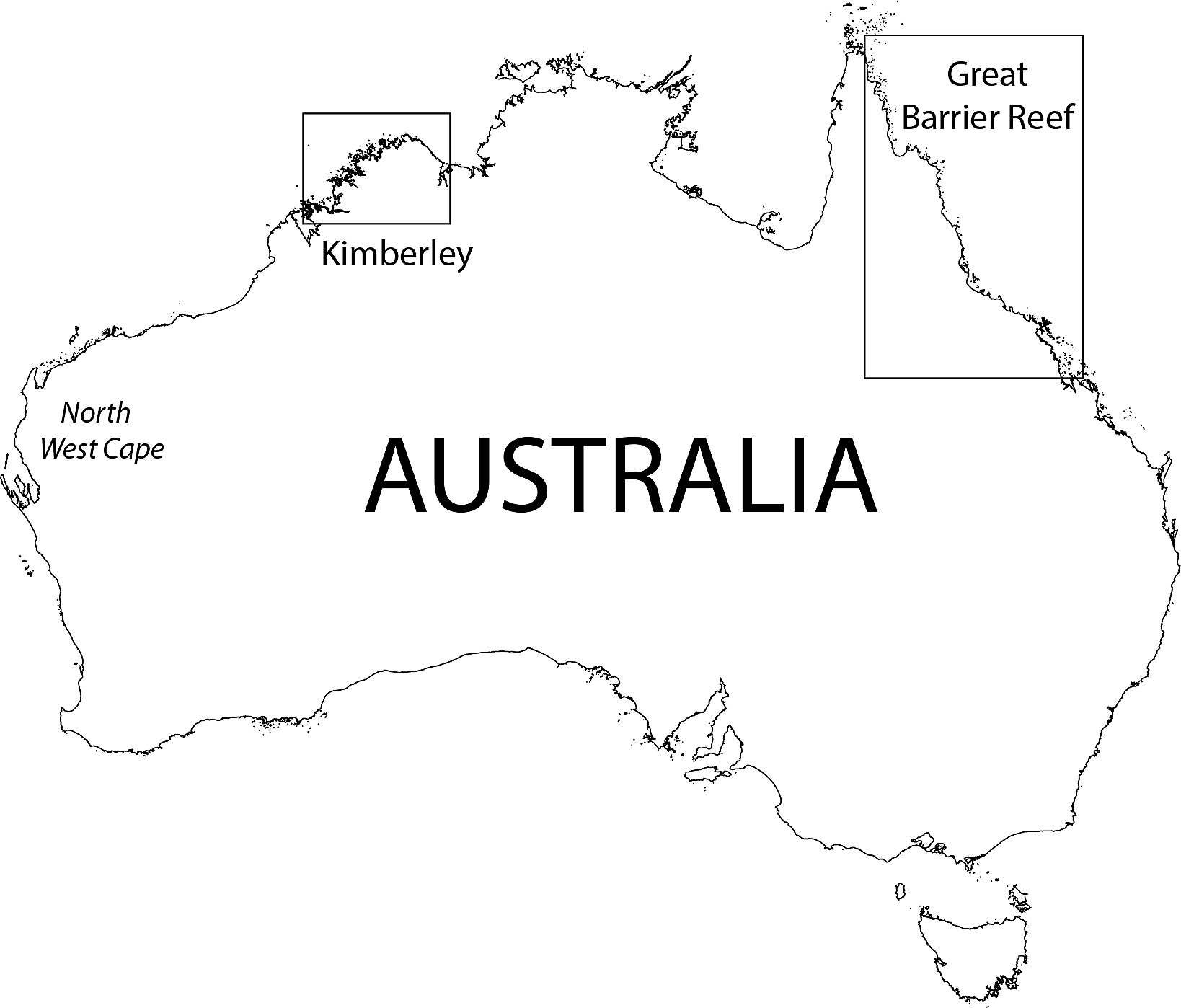 Map Of West Coast Australia.Map Of Australia Showing The Two Different Regions In This Study