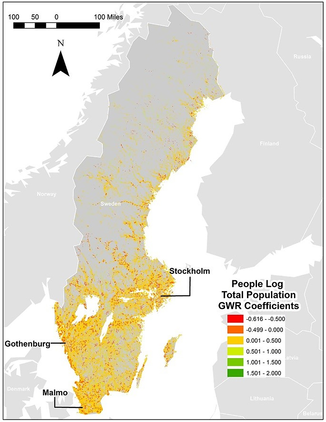 NightTime Light Data A Good Proxy Measure For Economic Activity - Sweden map population