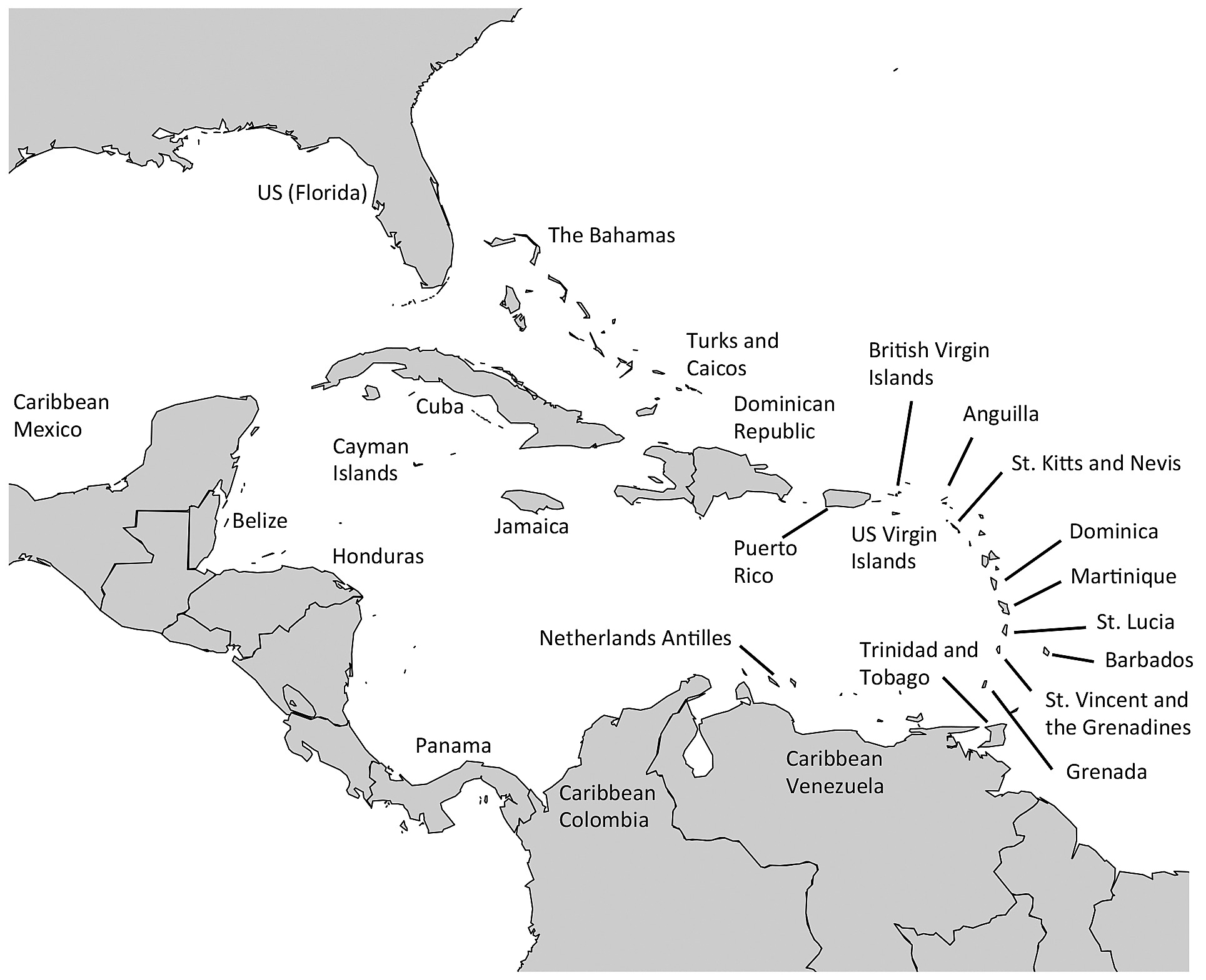 Map Of The Caribbean Region Map of the Wider Caribbean Region with 25 countries/island nations