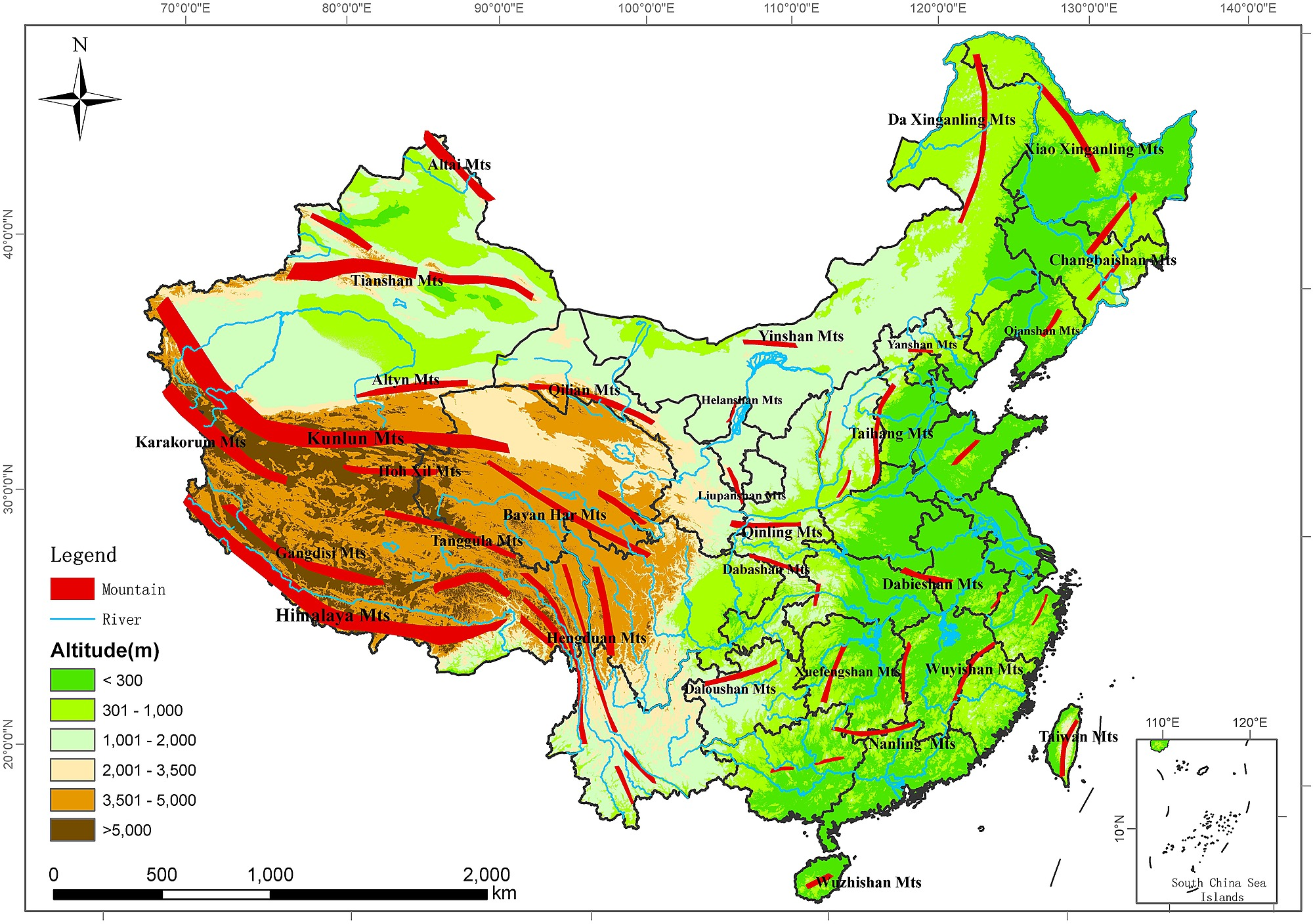 Image of: Sketch Map Of China Showing Elevation And Major Mountain Ranges