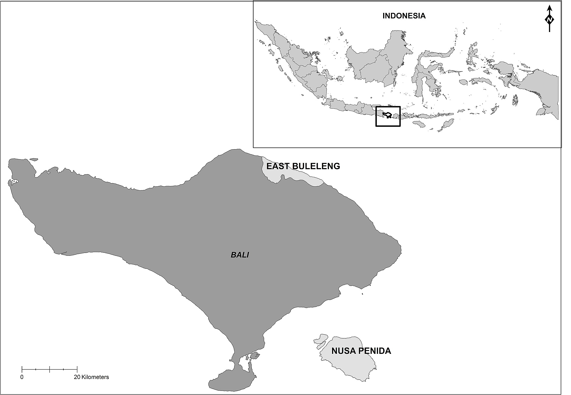 Map Of Bali Indonesia Showing The Two Research Locations