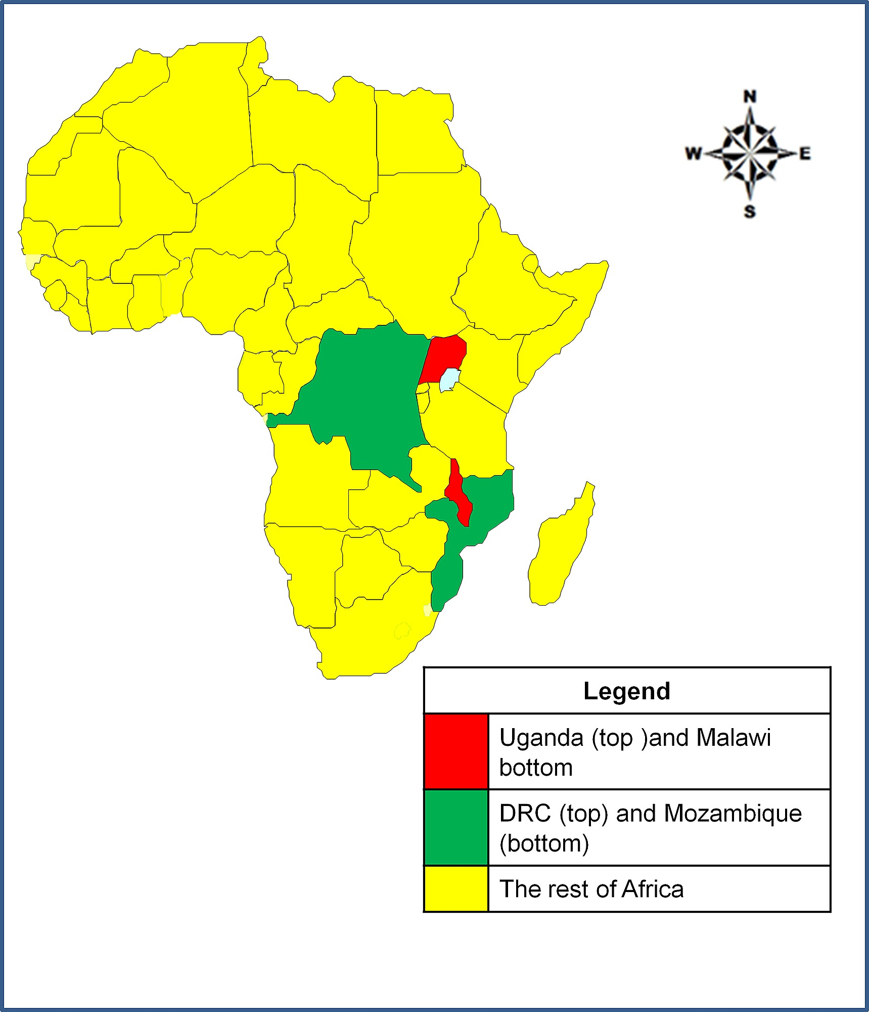 uganda location in africa map The Map Of Africa Showing The Location Of Uganda And Malawi And uganda location in africa map