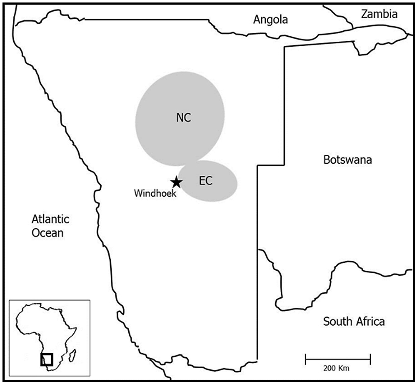 Schematic map showing the location (shaded) of the two study areas