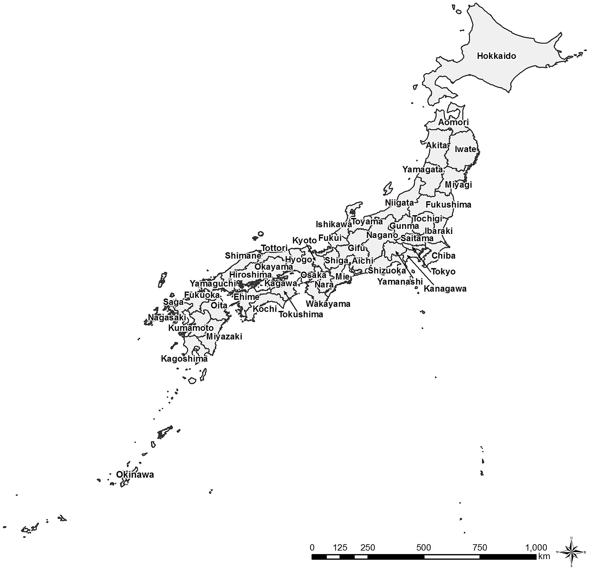 Labled Map Of Japan.A Blank Map Of Japan